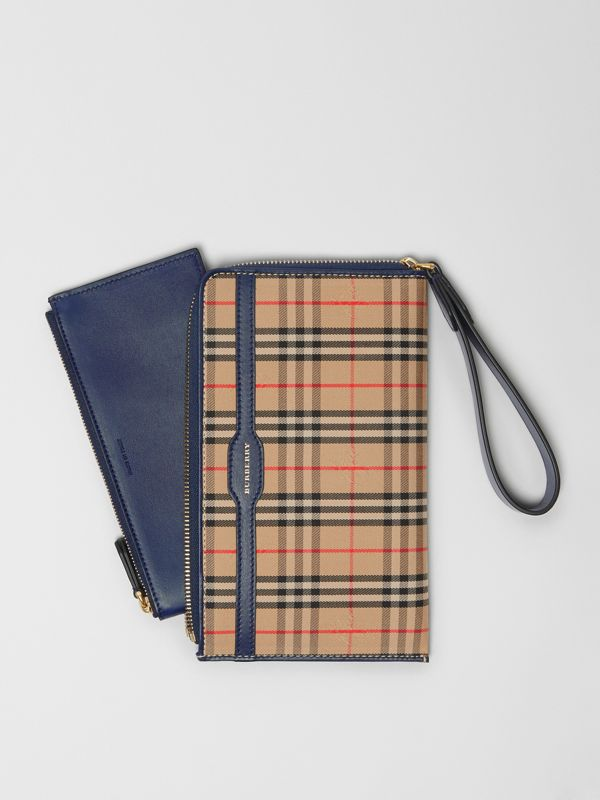 1983 Check and Leather Travel Wallet in Ink Blue | Burberry - cell image 2