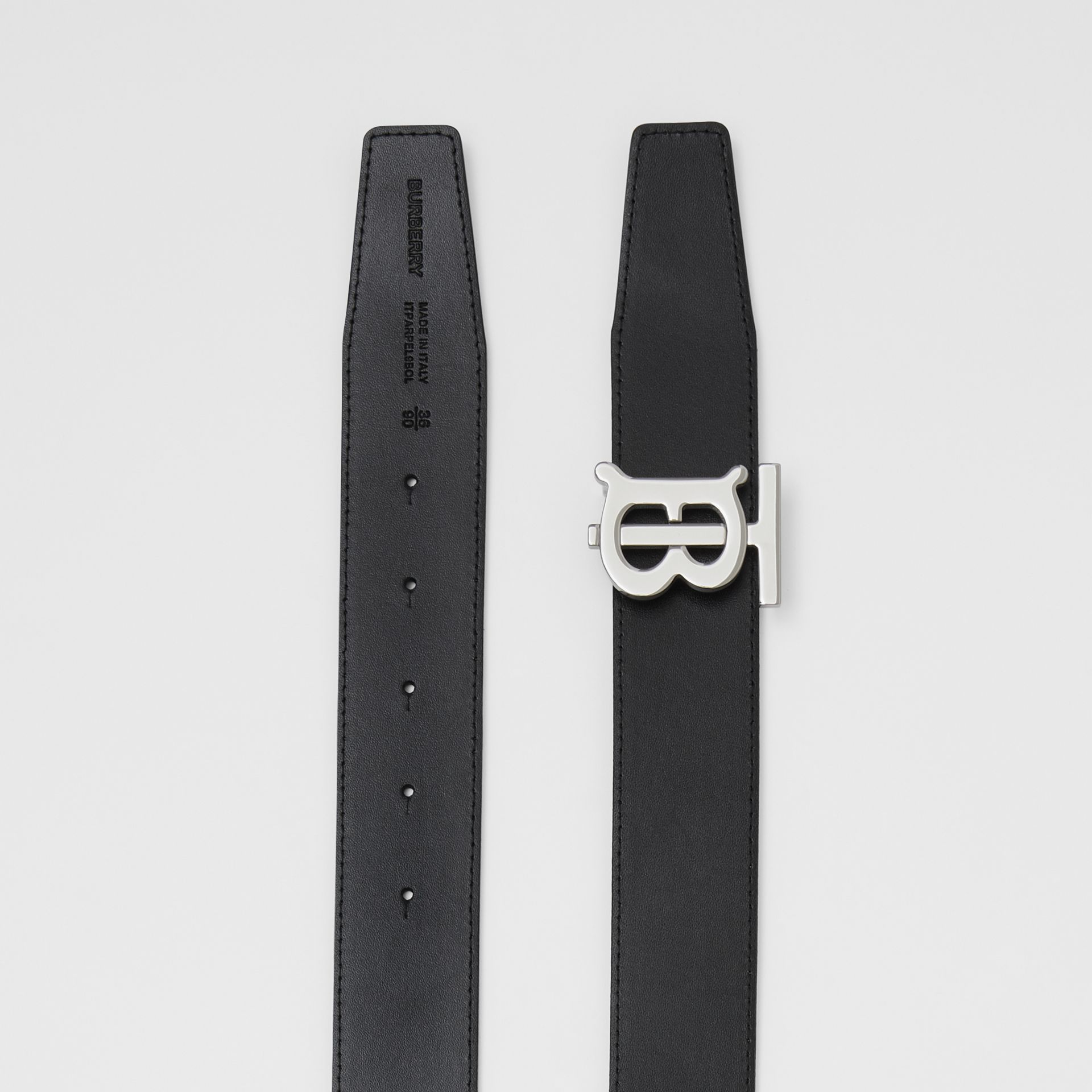Reversible Monogram Motif Leather Belt in Tan/black - Men | Burberry Australia - gallery image 8