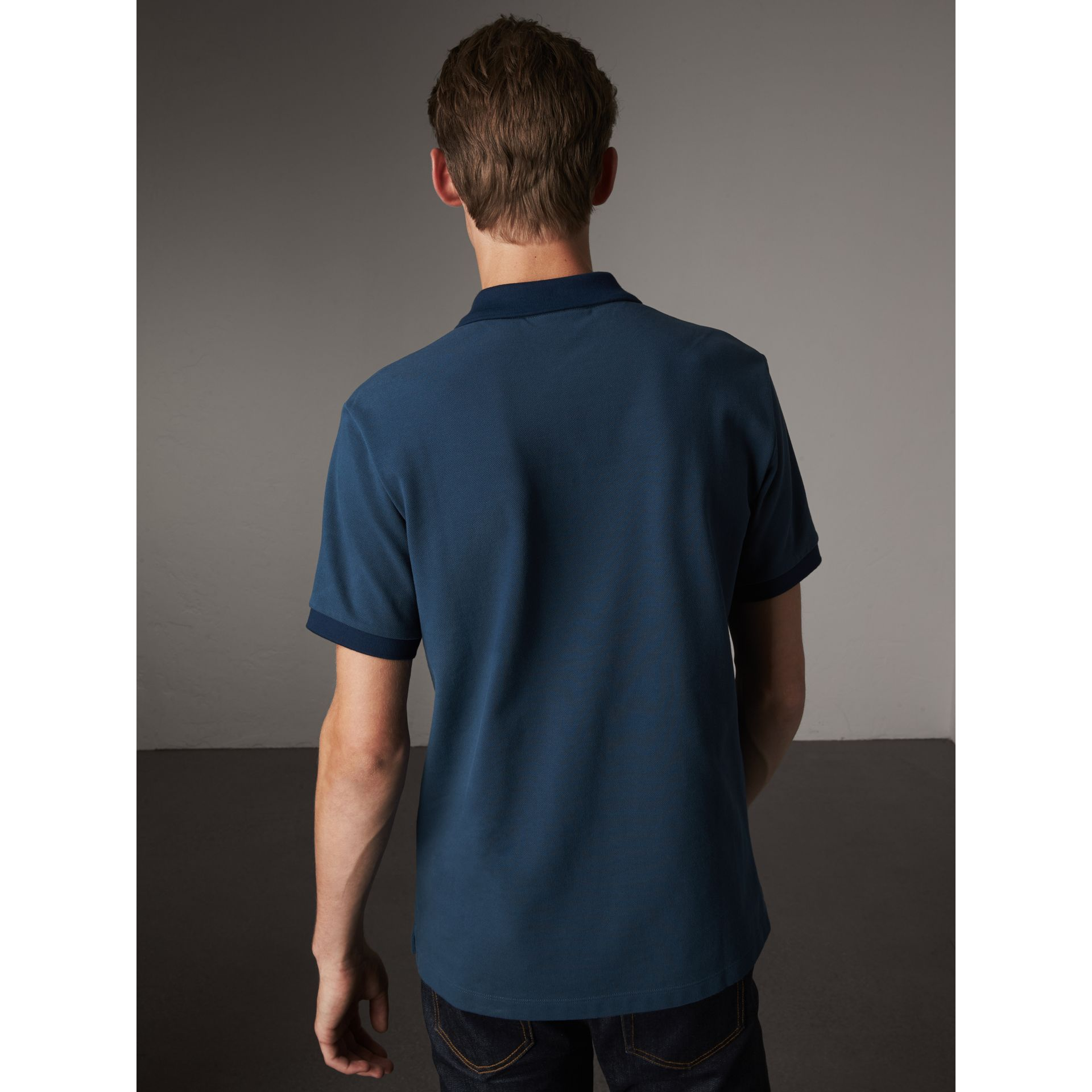 Cotton Piqué Polo Shirt in Canvas Blue - Men | Burberry Singapore - gallery image 3