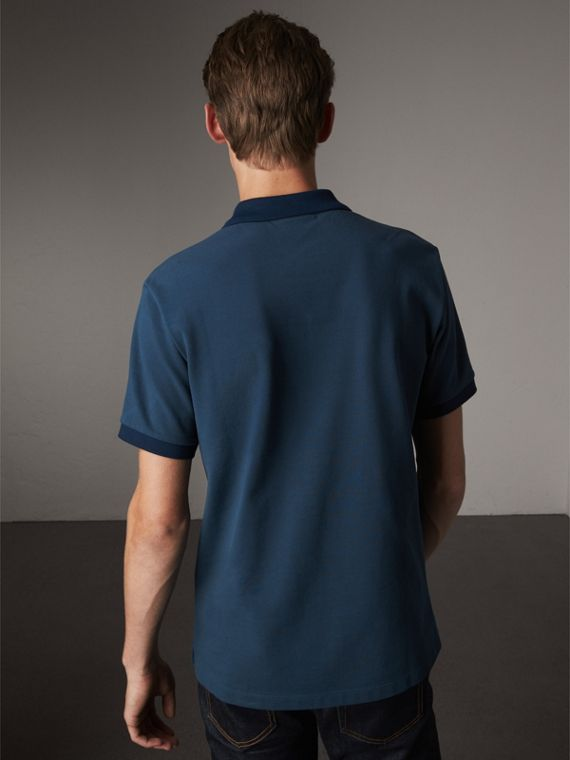 Cotton Piqué Polo Shirt in Canvas Blue - Men | Burberry Singapore - cell image 2