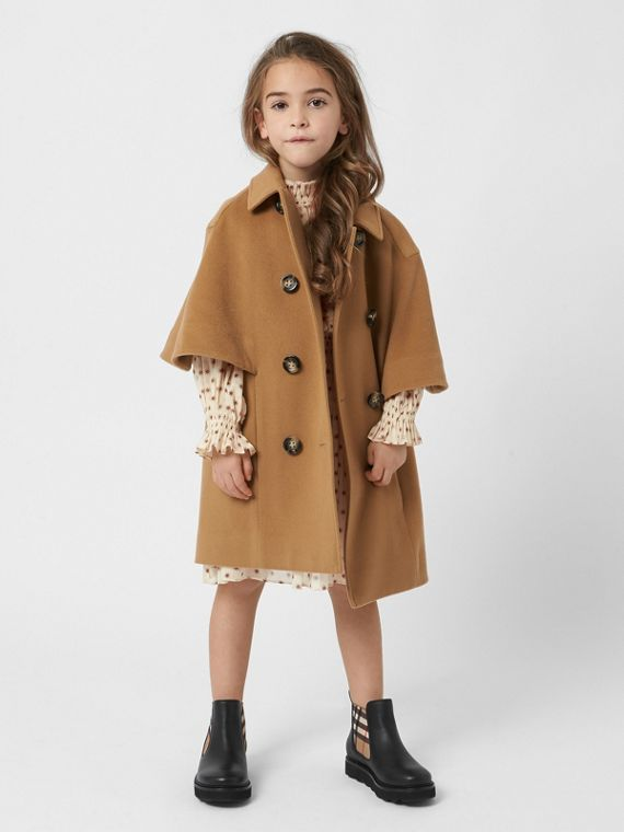 Cashmere Cape Coat in Dark Sand