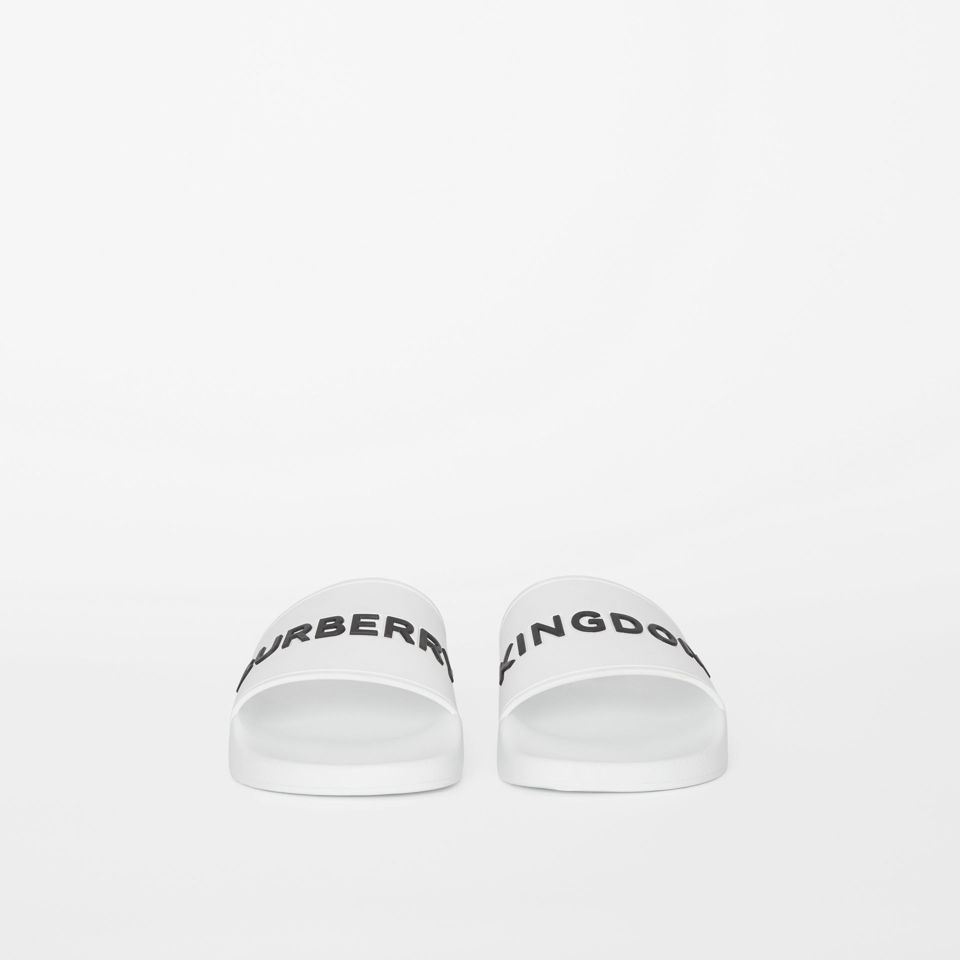 Kingdom Motif Slides in Optic White/black - Men | Burberry - gallery image 2