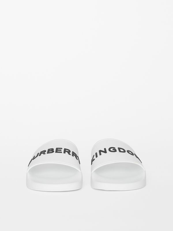 Kingdom Motif Slides in Optic White/black - Men | Burberry Canada - cell image 2