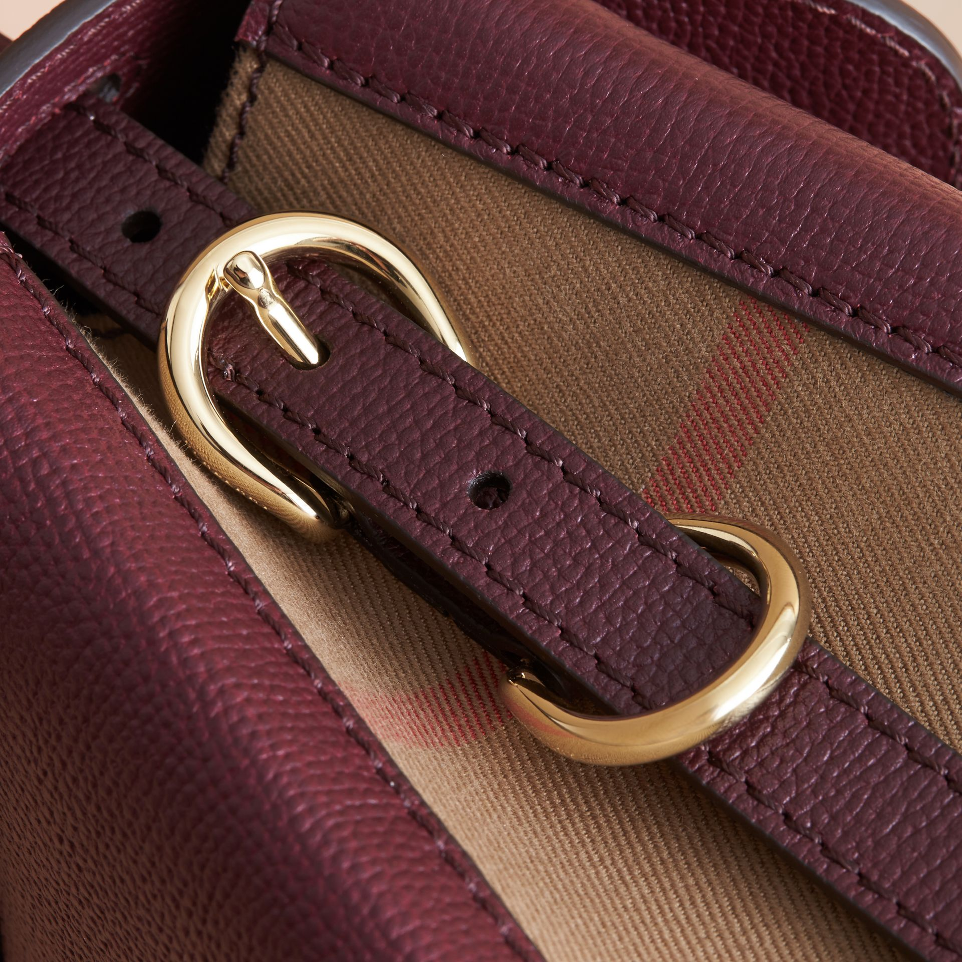 Small Grainy Leather and House Check Tote Bag in Mahogany Red - Women | Burberry - gallery image 7