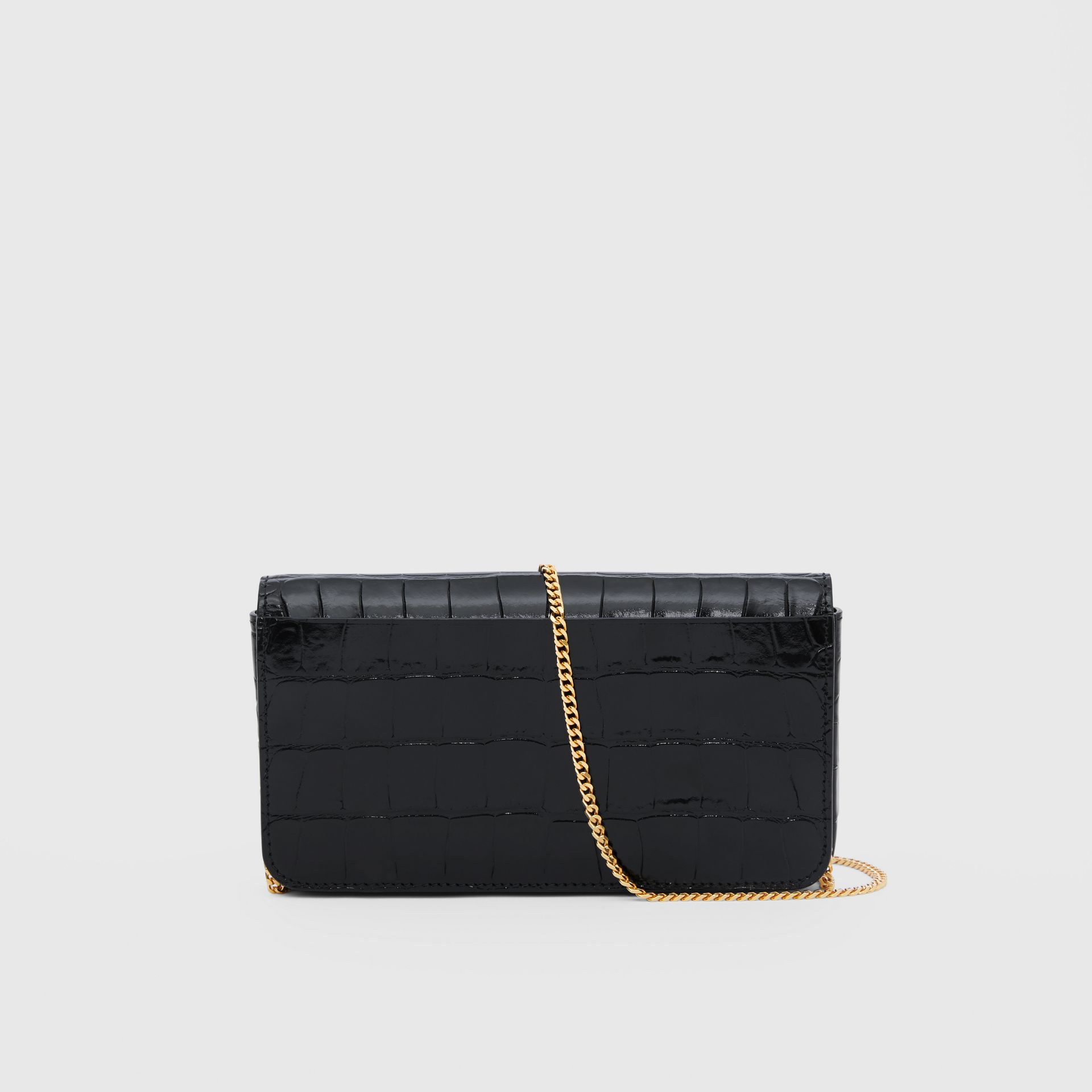 Embossed Leather Wallet with Detachable Chain Strap in Black - Women | Burberry United States - gallery image 7