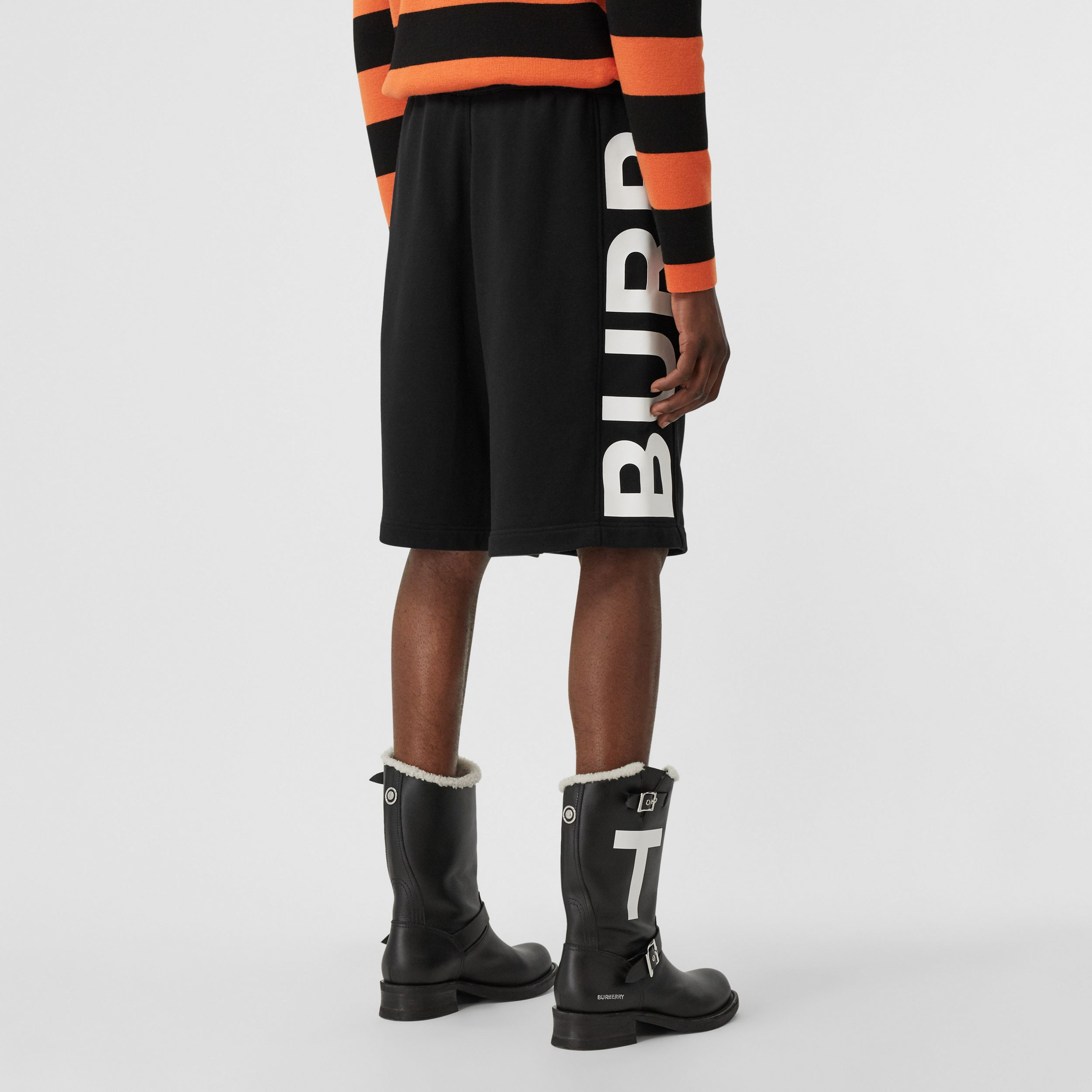 Logo Print Cotton Drawcord Shorts in Black - Men | Burberry Singapore - 3