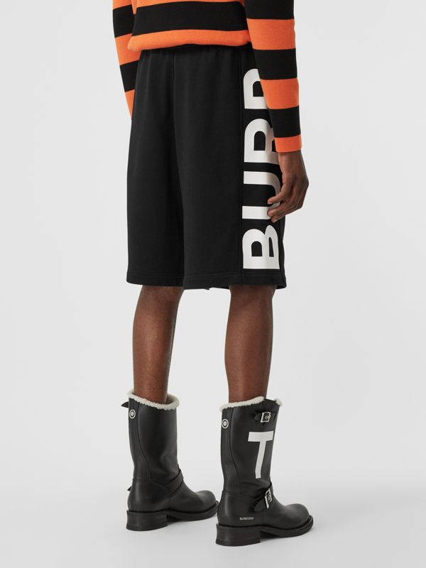 Logo Print Cotton Drawcord Shorts in Black | Burberry United Kingdom - cell image 2