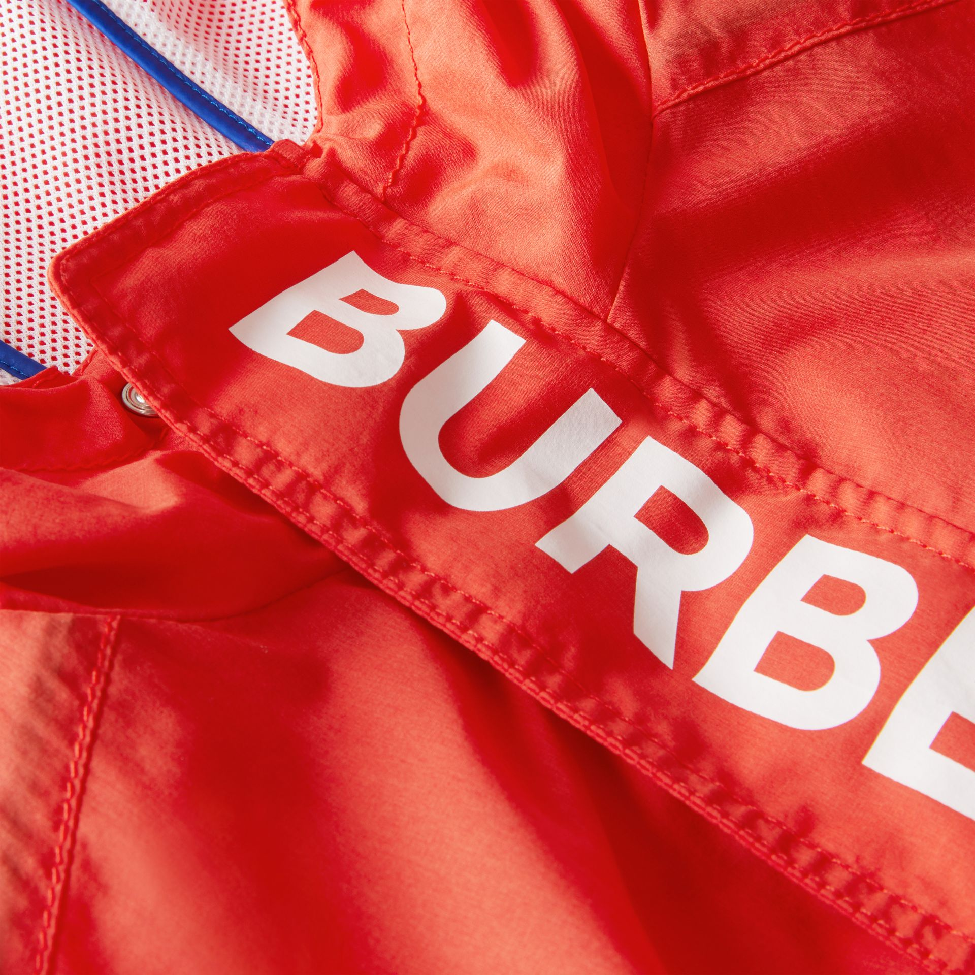 Logo Print Lightweight Hooded Jacket in Orange Red | Burberry - gallery image 1