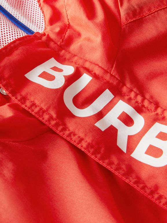 Logo Print Lightweight Hooded Jacket in Orange Red | Burberry Australia - cell image 1