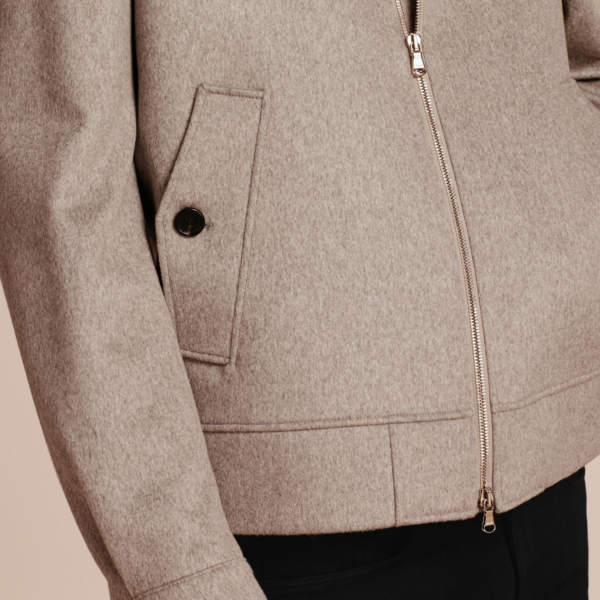 Pale grey melange Cashmere Jacket with Detachable Shearling Collar - gallery image 6