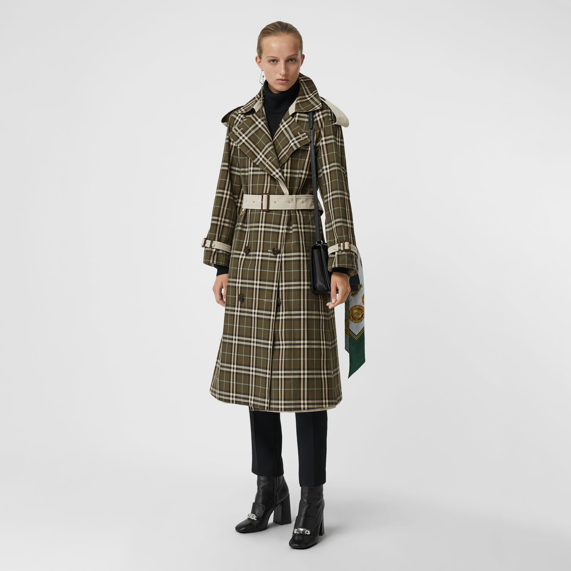Reversible Tropical Gabardine and Check Trench Coat in Olive Green - Women | Burberry - gallery image 0