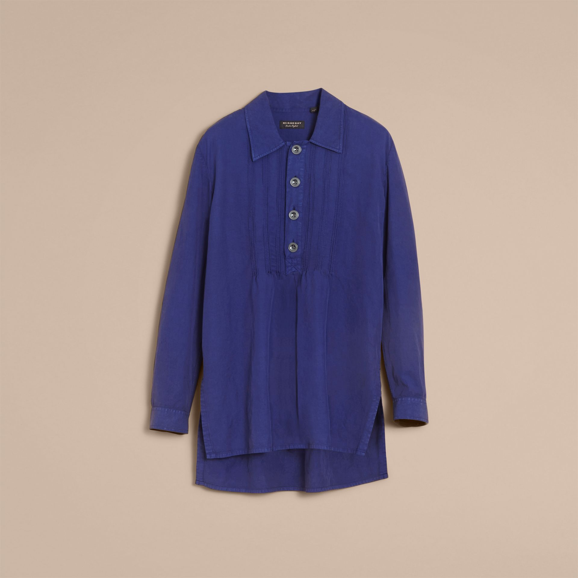 Lyocell Linen Cotton Smock Shirt in Dark Blue - Men | Burberry - gallery image 4