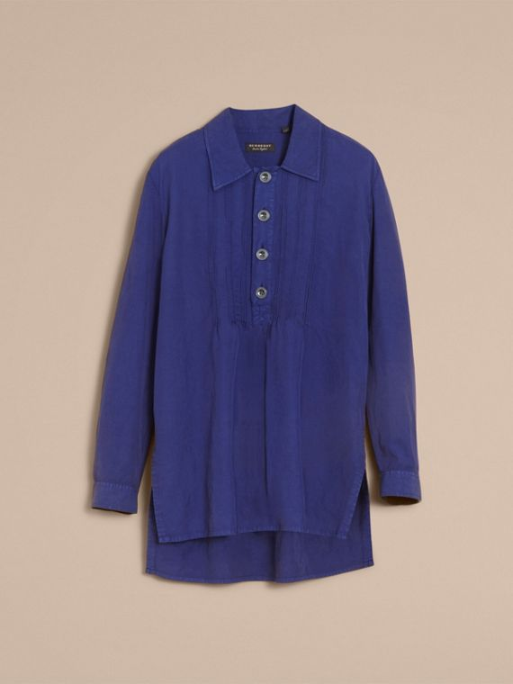 Lyocell Linen Cotton Smock Shirt in Dark Blue - Men | Burberry - cell image 3