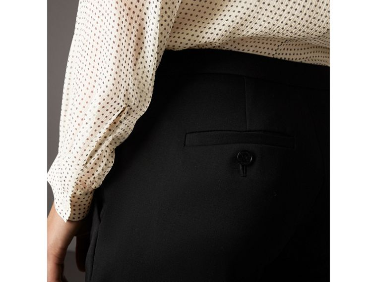 Wide-leg Wool Tailored Trousers in Black - Women | Burberry United Kingdom - cell image 1
