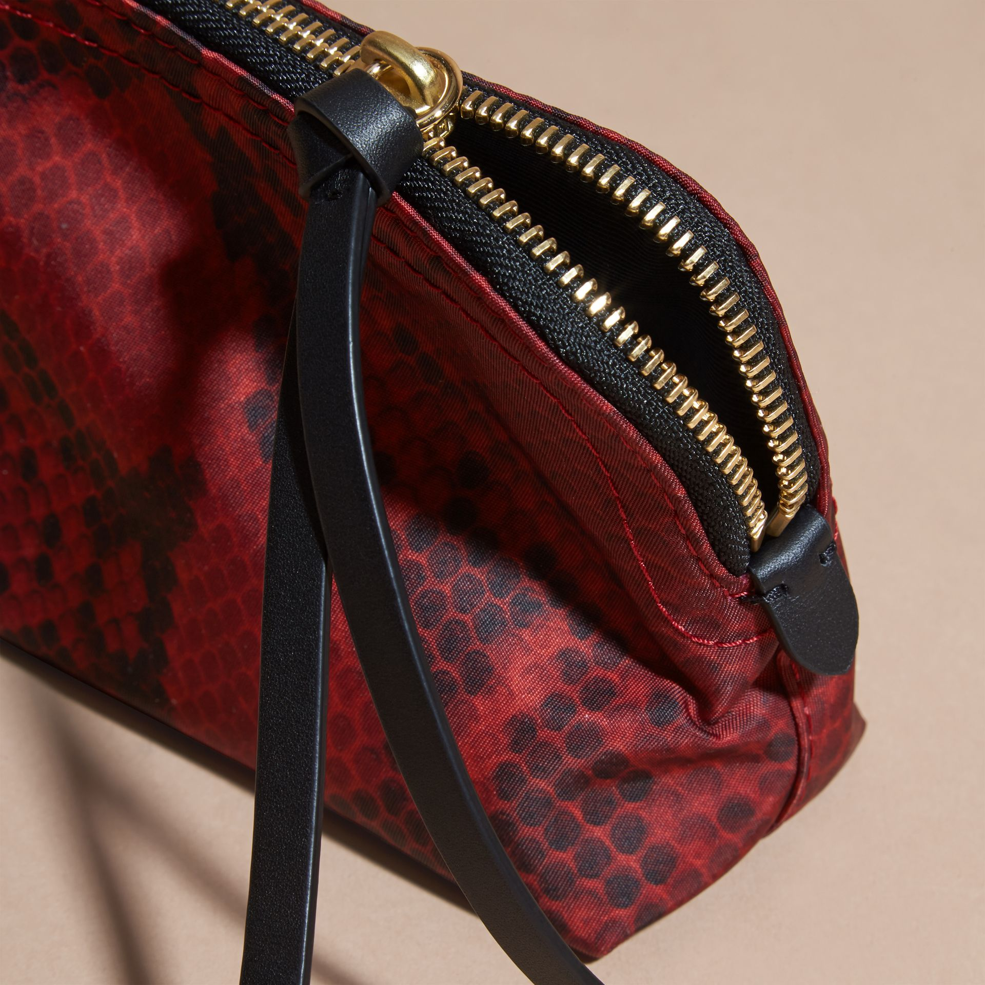 Burgundy red Small Zip-top Python-print Technical Nylon Pouch Burgundy Red - gallery image 5