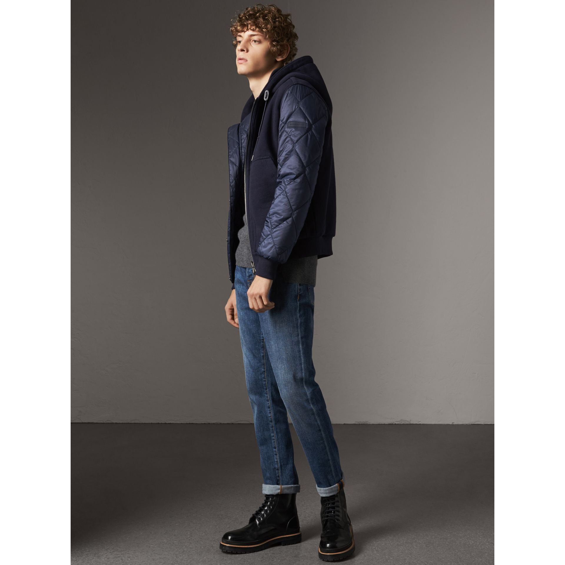 Reversible Quilted Cotton Hooded Bomber Jacket in Navy - Men | Burberry - gallery image 4