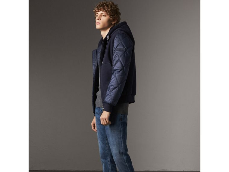 Reversible Quilted Cotton Hooded Bomber Jacket in Navy - Men | Burberry United States - cell image 4