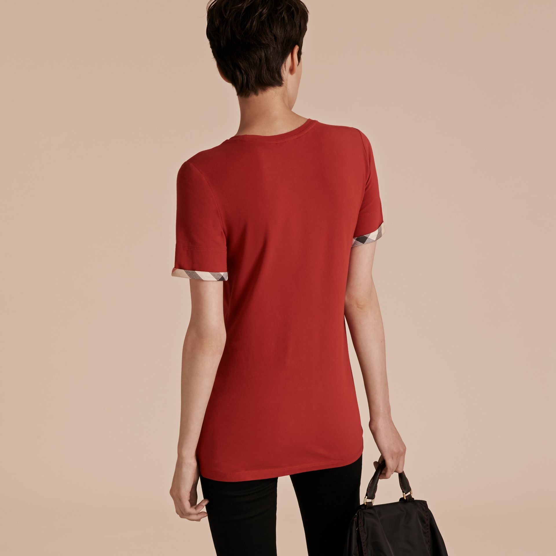 Check Cuff Stretch Cotton T-Shirt in Lacquer Red - gallery image 3