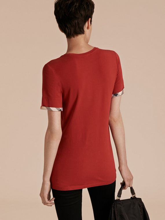 Check Cuff Stretch Cotton T-Shirt in Lacquer Red - cell image 2
