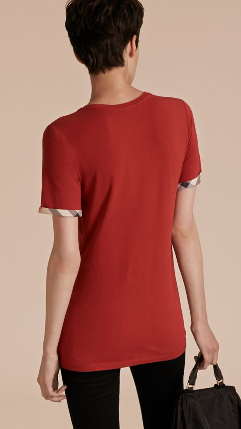 Lacquer red Check Cuff Stretch Cotton T-Shirt Lacquer Red - Image 3