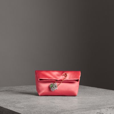 The Small Pin Clutch In Satin in Red