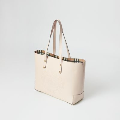 Small Embossed Crest Leather Tote In Limestone Burberry United States