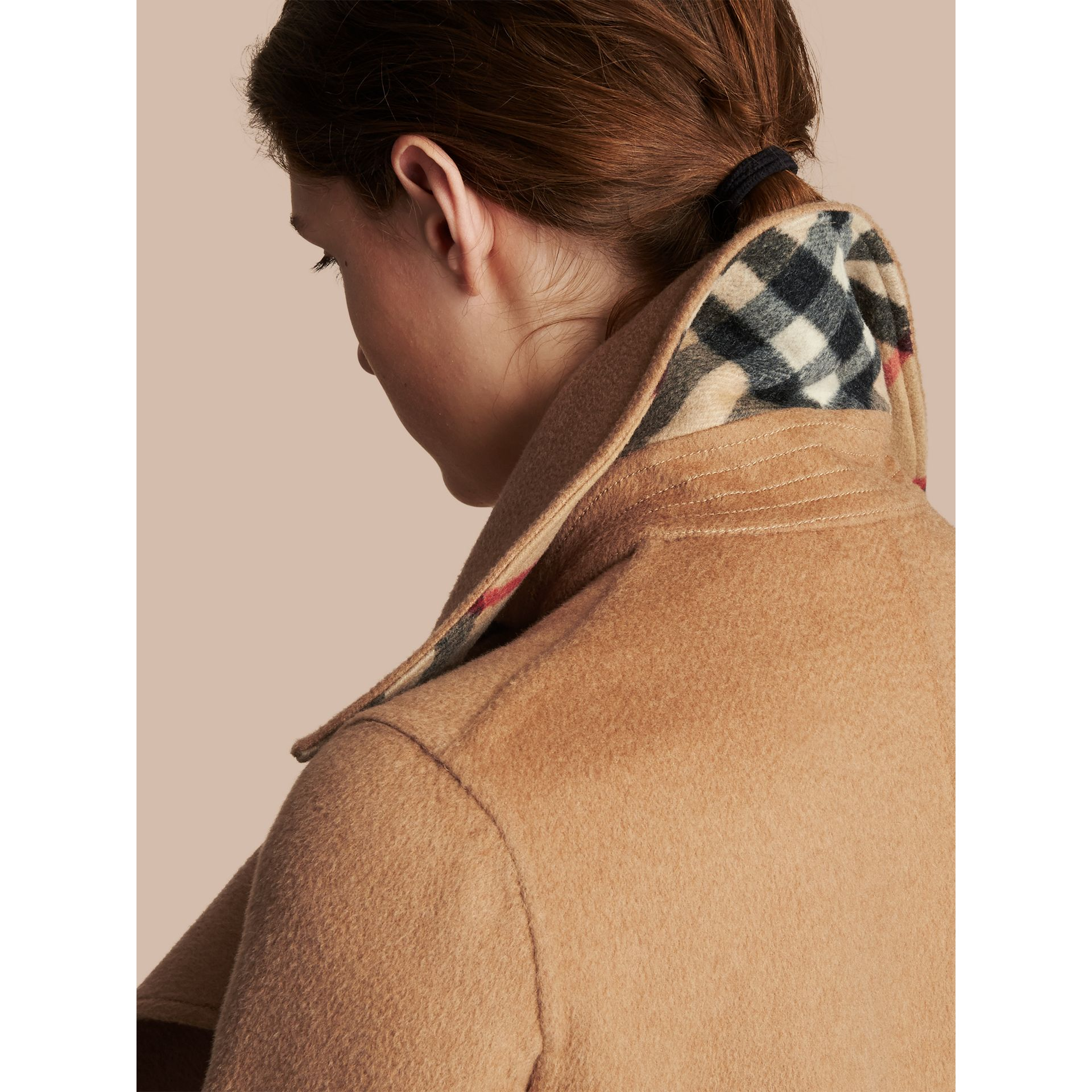 Draped Front Camel Hair and Wool Tailored Coat - Women | Burberry - gallery image 6