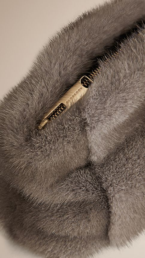 Mid grey melange Mink Clutch Bag - Image 6