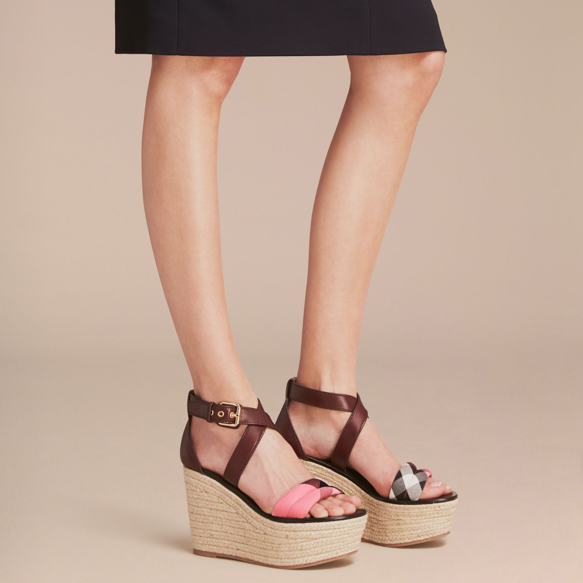Leather and House Check Platform Espadrille Wedge Sandals in Cerise Purple - Women | Burberry Singapore - gallery image 3