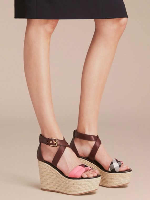 Leather and House Check Platform Espadrille Wedge Sandals in Cerise Purple - cell image 2