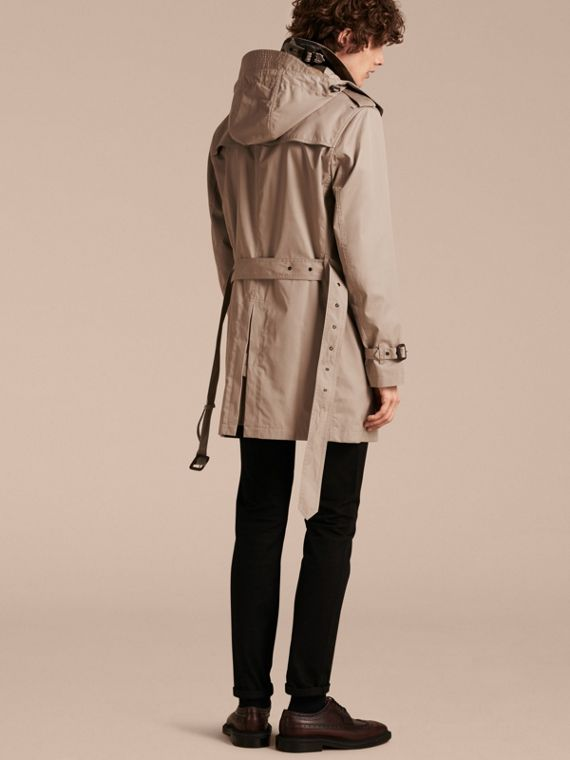 Taupe Cotton Trench Coat with Detachable Hood Taupe - cell image 2