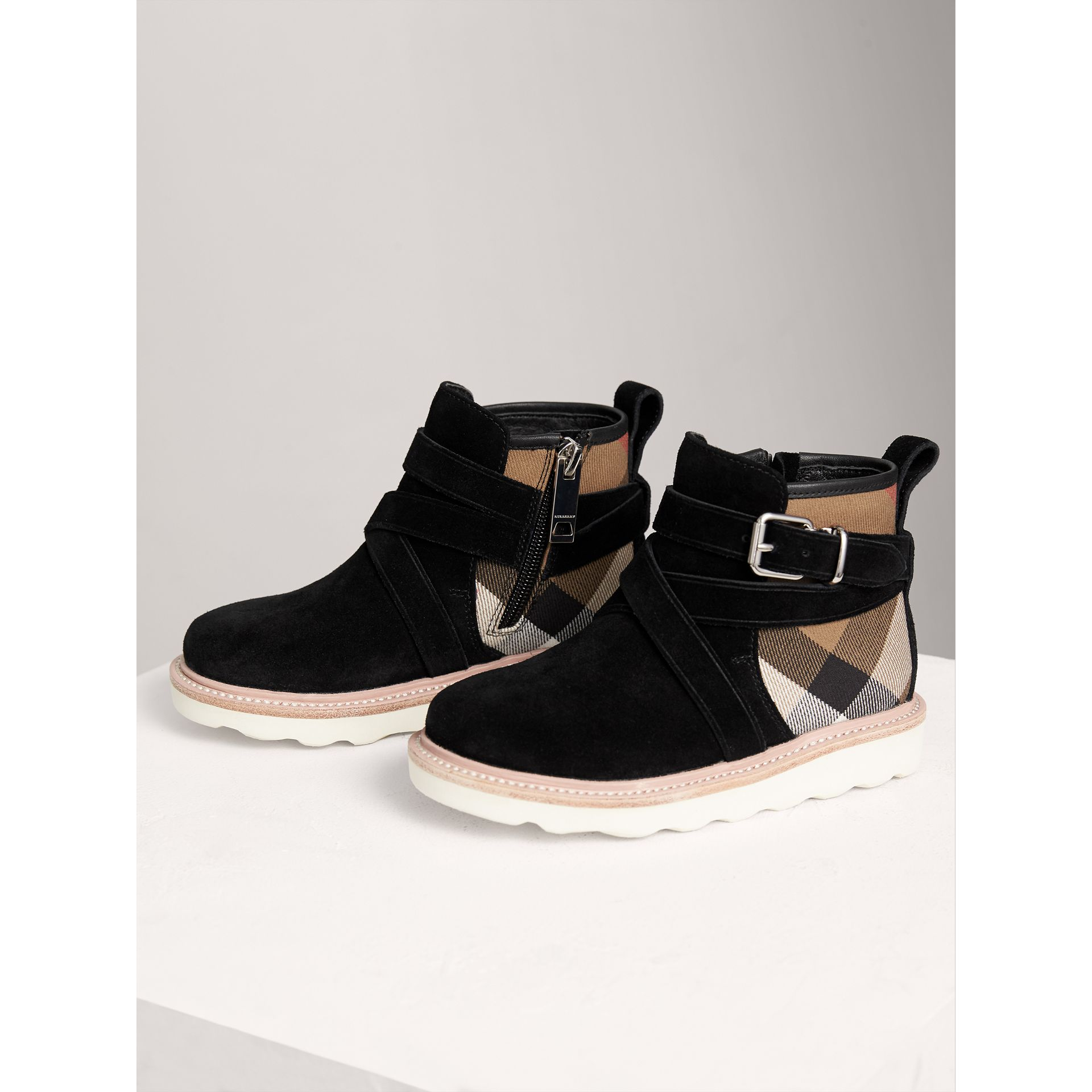 Belt Detail House Check and Suede Ankle Boots in Black | Burberry United Kingdom - gallery image 3