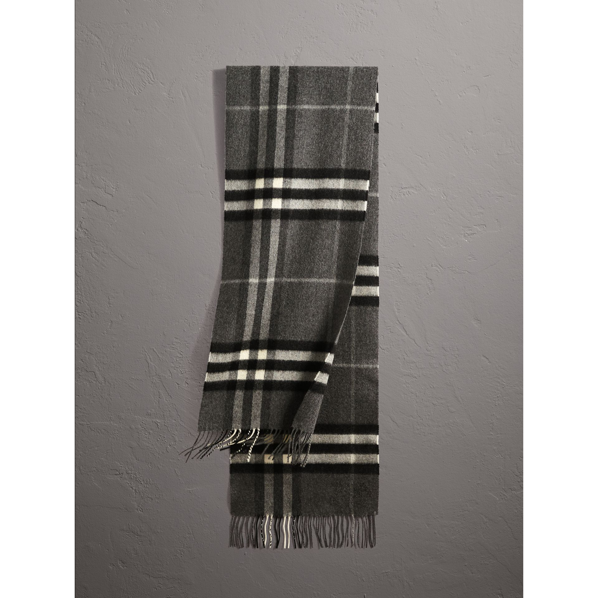 The Classic Check Cashmere Scarf in Mid Grey | Burberry Australia - gallery image 1