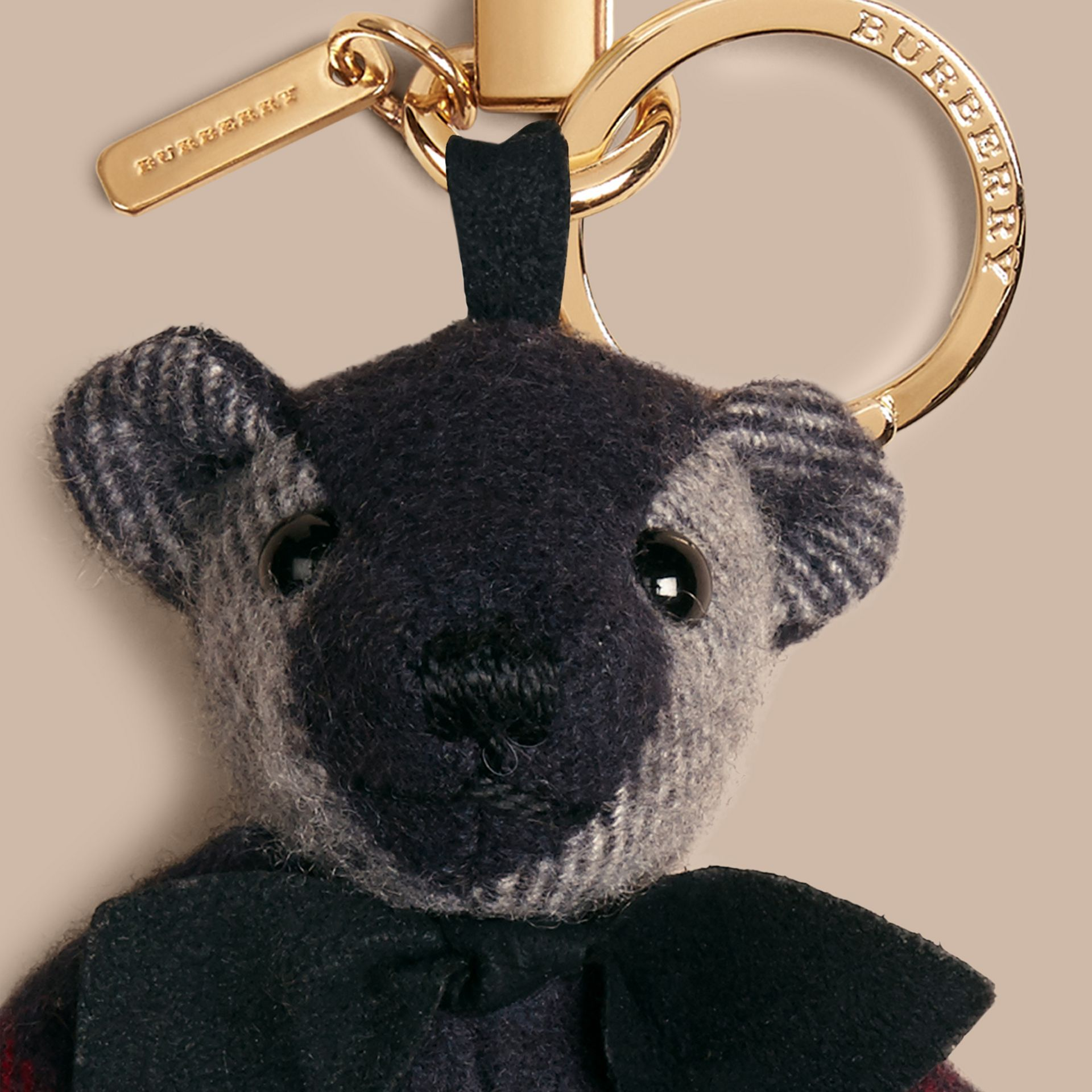 Navy Thomas Bear Charm in Check Cashmere Navy - gallery image 2