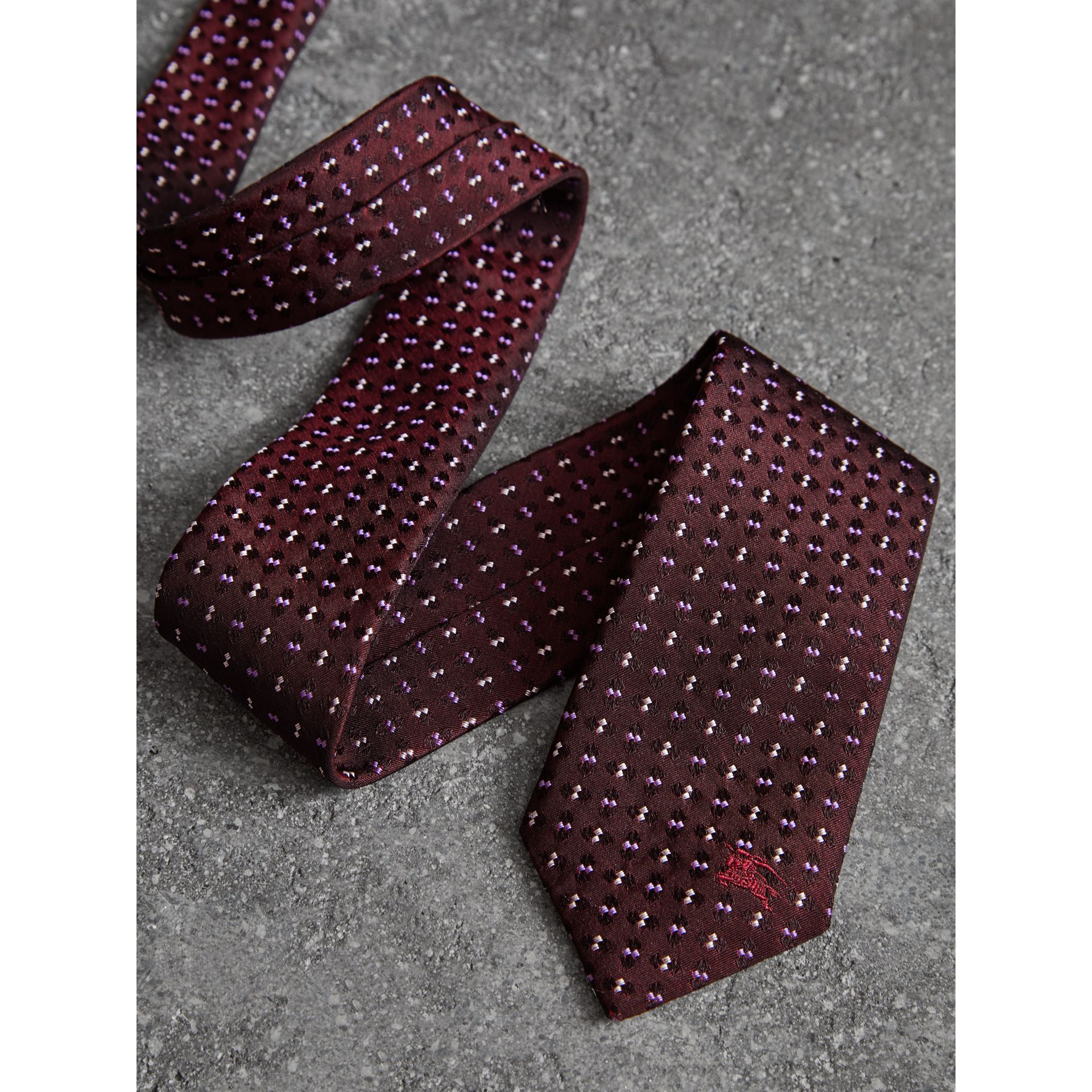Slim Cut Geometric Silk Jacquard Tie in Deep Claret - Men | Burberry United Kingdom - gallery image 1