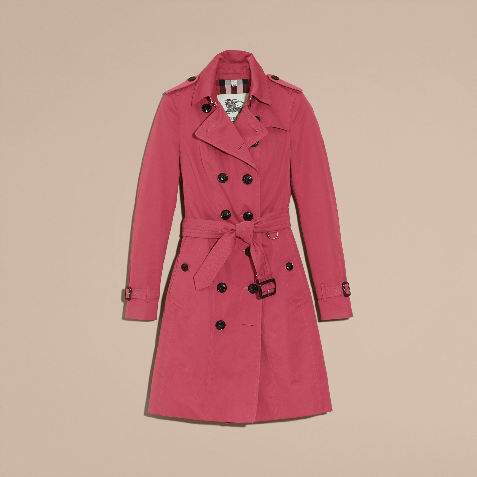 Bright copper pink Cotton Gabardine Trench Coat - gallery image 4