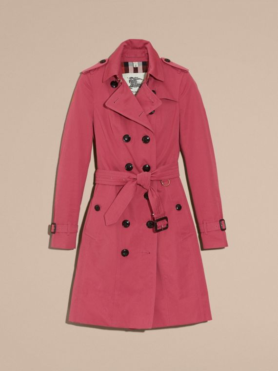 Bright copper pink Cotton Gabardine Trench Coat - cell image 3