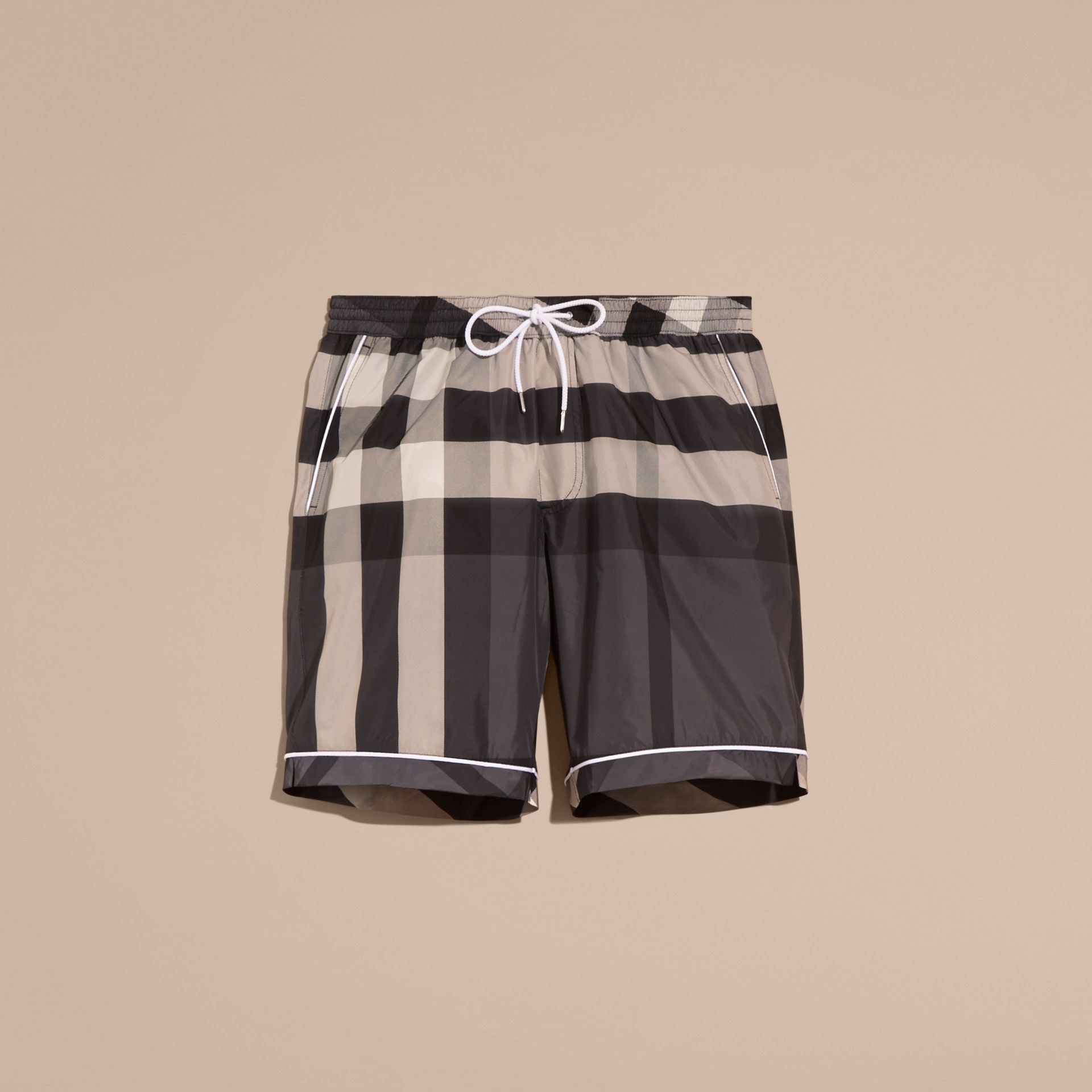 Charcoal Check Print Swim Shorts with Piping Detail Charcoal - gallery image 4
