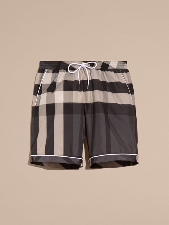 Charcoal Check Print Swim Shorts with Piping Detail Charcoal - cell image 3