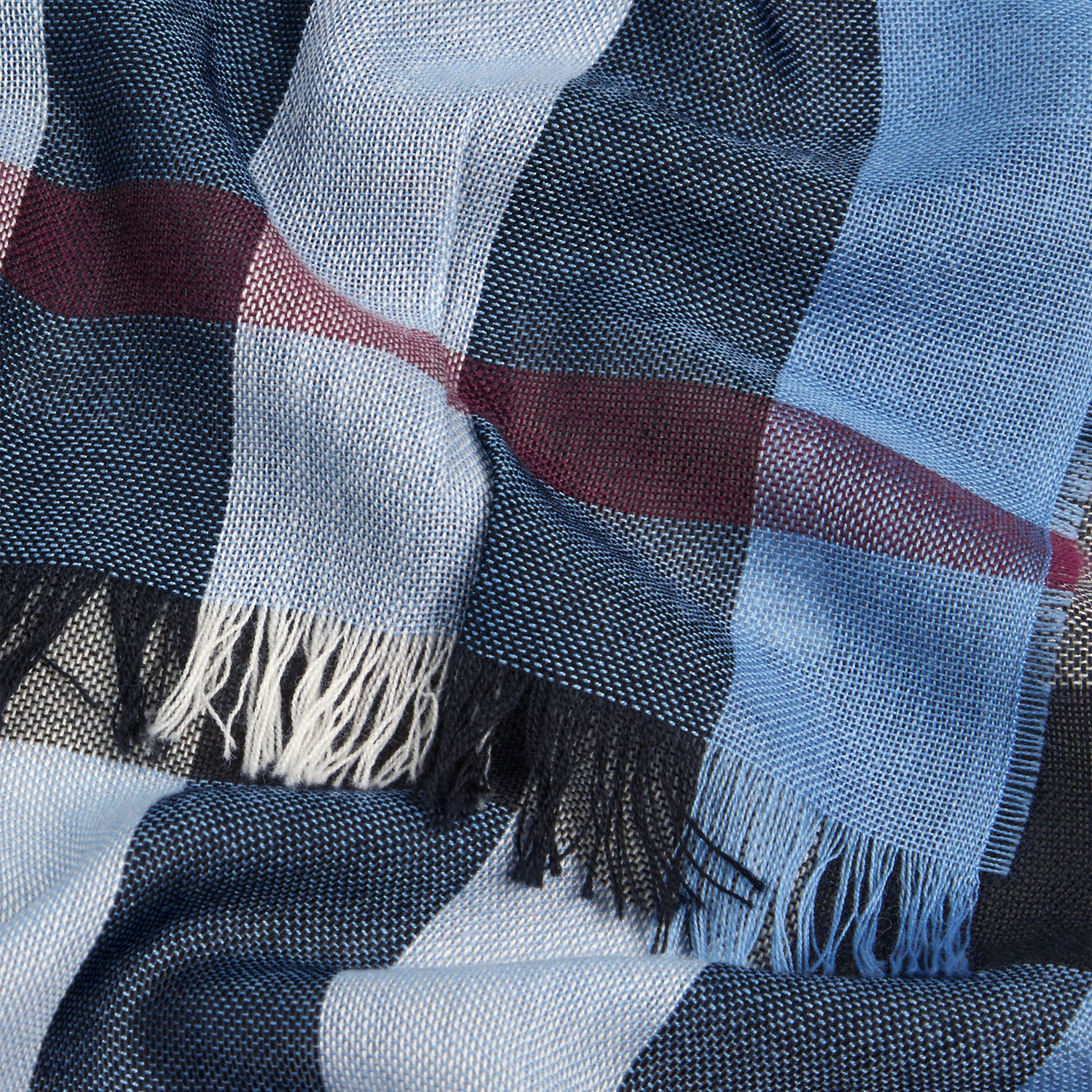 Lightweight Check Wool Cashmere Scarf Pale Sky Blue - gallery image 2
