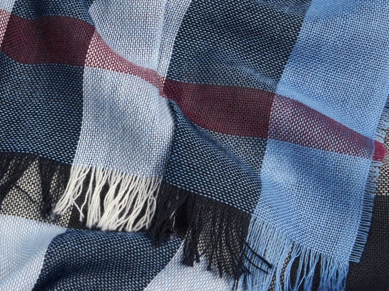 Lightweight Check Wool Cashmere Scarf Pale Sky Blue - cell image 1
