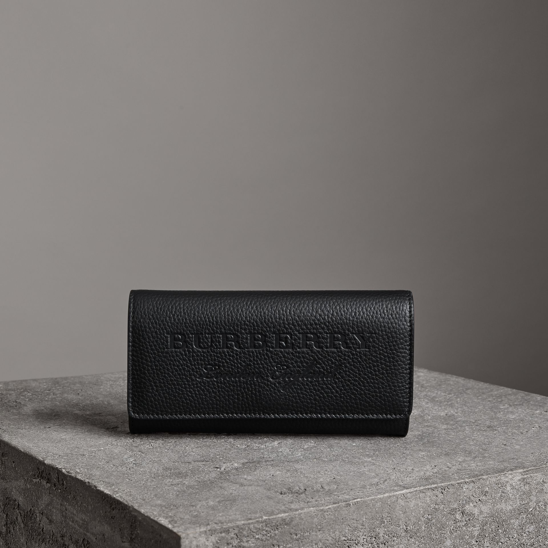 Embossed Leather Continental Wallet in Black - Women | Burberry United Kingdom - gallery image 0