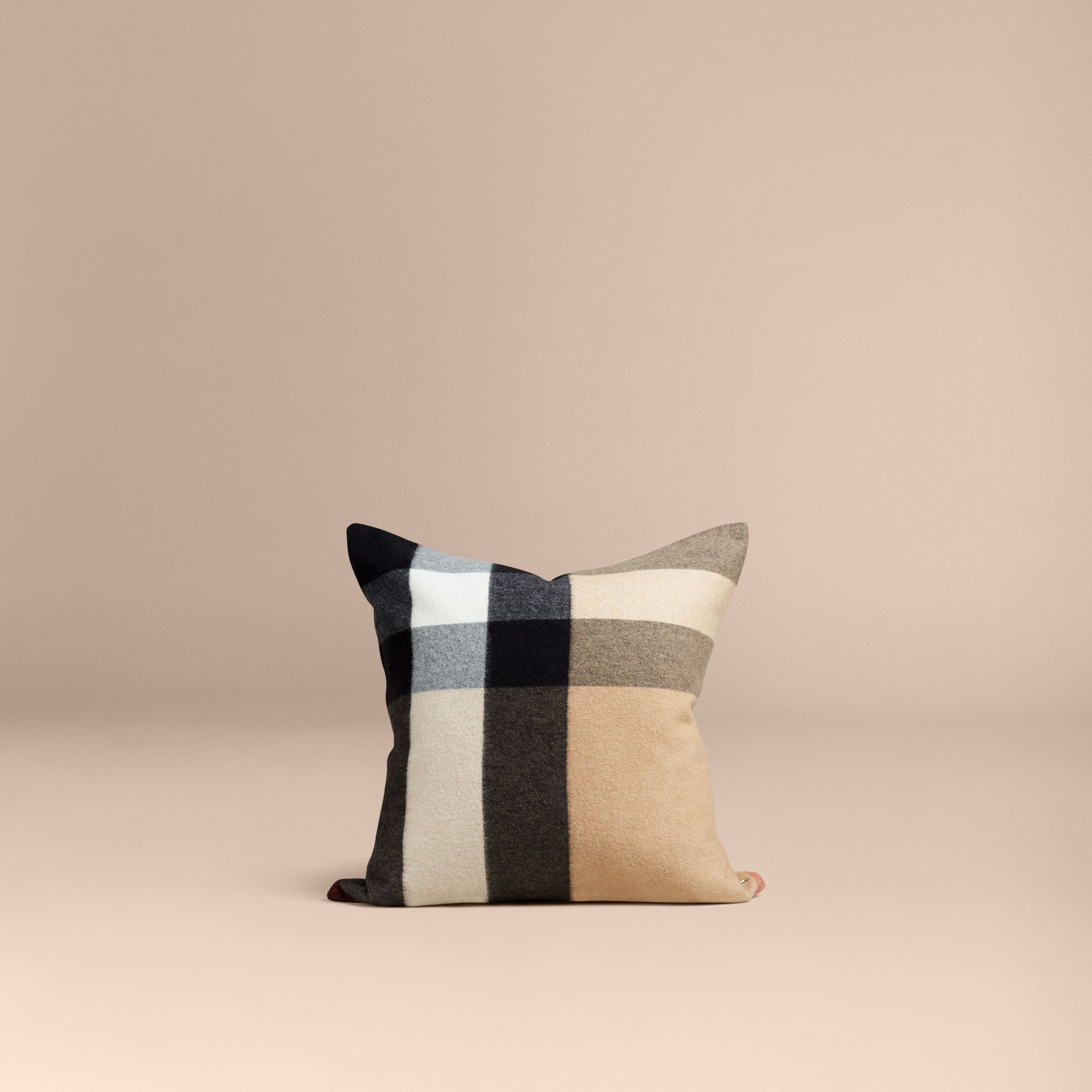 Camel Check Cashmere Cushion Cover Camel - gallery image 3