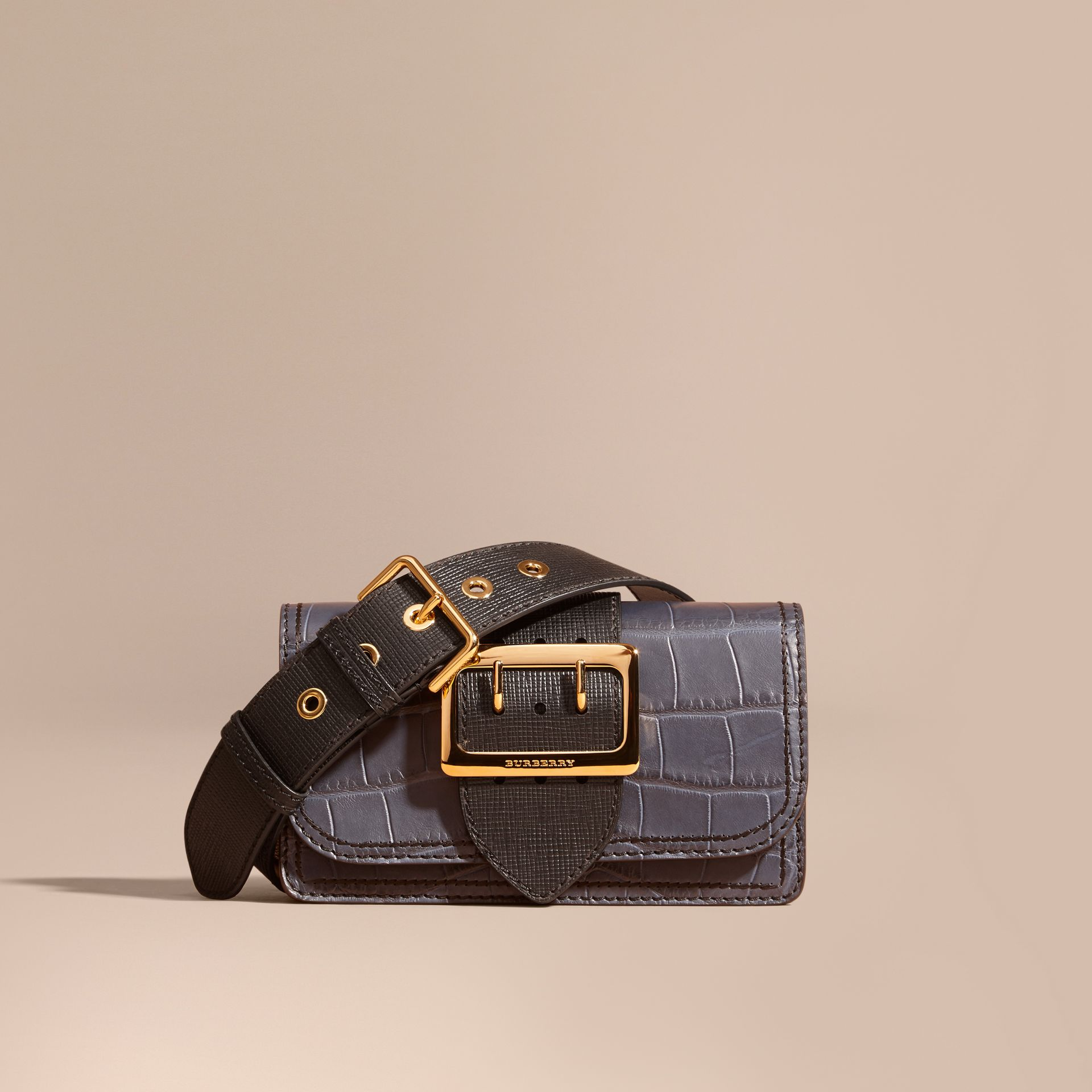 The Small Buckle Bag in Alligator and Leather in Navy / Black - Women | Burberry - gallery image 1