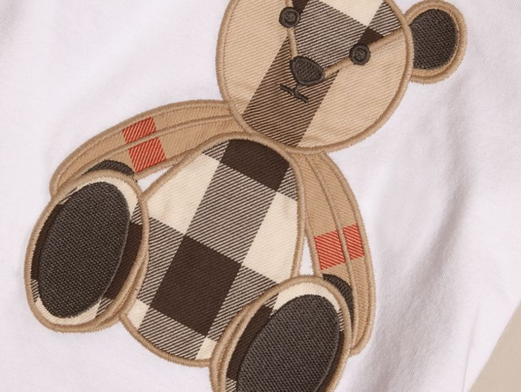 Long-sleeved Teddy Bear Motif Cotton T-shirt - cell image 1