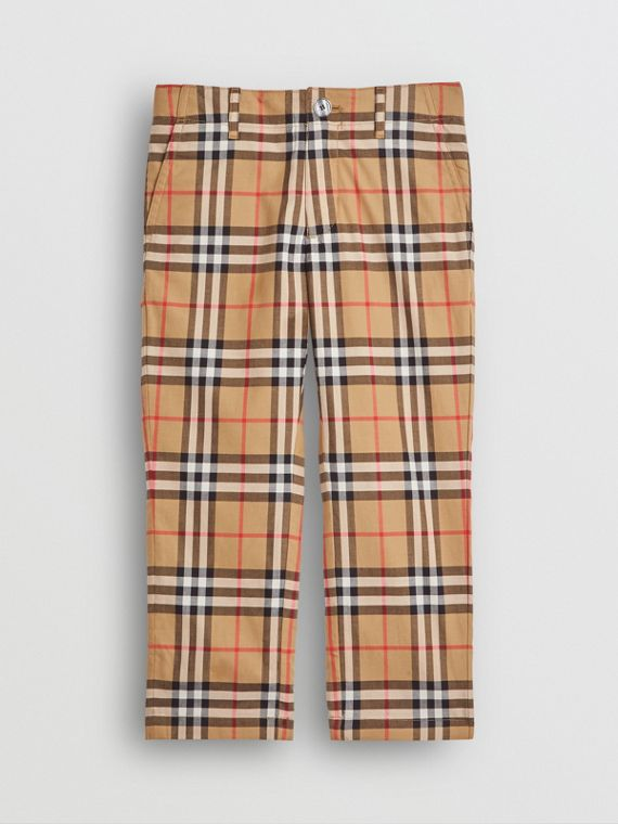 Vintage Check Cotton Tailored Trousers in Antique Yellow