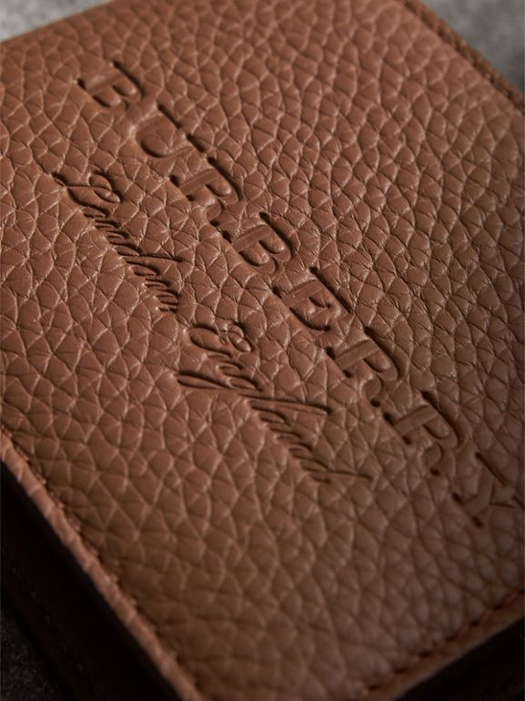 Textured Leather Bifold Wallet in Chestnut Brown - Men | Burberry United Kingdom - cell image 1