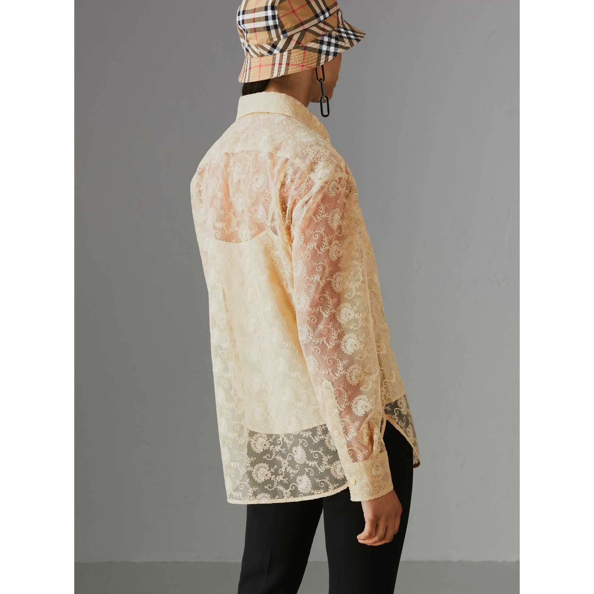 Floral Lace Shirt in Pale Yellow - Women | Burberry - gallery image 2