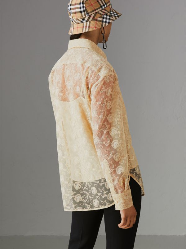 Floral Lace Shirt in Pale Yellow - Women | Burberry Hong Kong - cell image 2