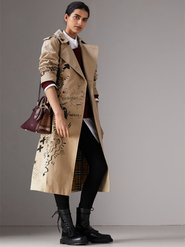The Baby Banner in Leather and House Check in Mahogany Red - Women | Burberry - cell image 2